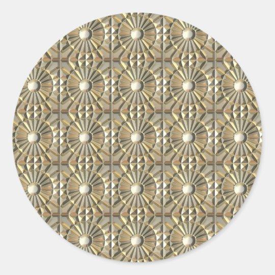 Solar Embossed Metals Round Sticker