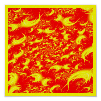 Solar Flares: Red Yellow Spiral Fractal Poster