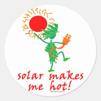 Solar Makes Me Hot! Round Sticker