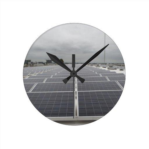 Solar Panel Field Round Clocks