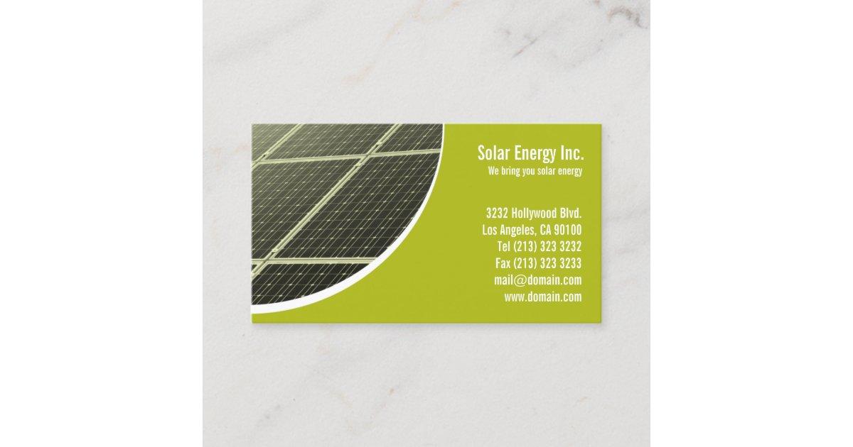 Solar panel green energy business card zazzle reheart Choice Image