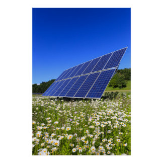 Solar Panels Green Meadow Sustainable Energy Poster