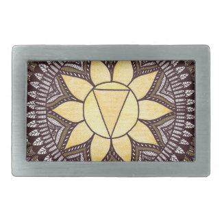 Solar Plexus Chakra Mandala Rectangular Belt Buckles