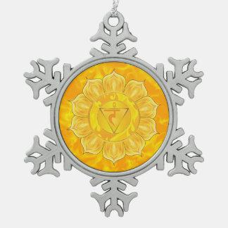 Solar Plexus Chakra Pewter Snowflake Ornament