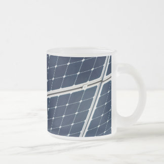 Solar power panel 10 oz frosted glass coffee mug