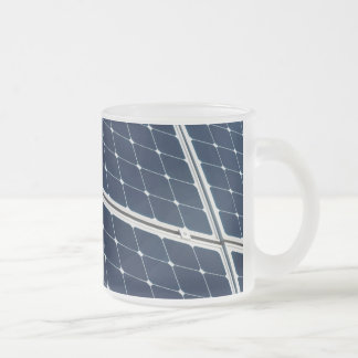 Solar power panel 10 oz frosted glass coffee mug