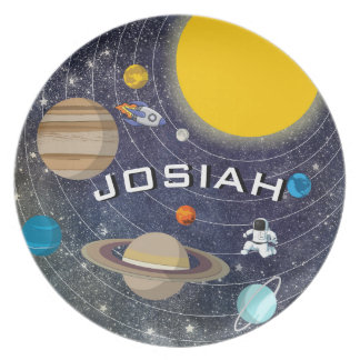Solar System, Astronaut and Spaceship Plate