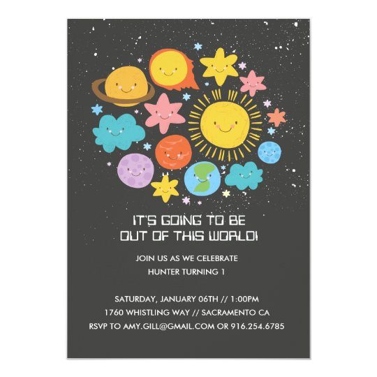 Solar System Birthday Invitaiton Card
