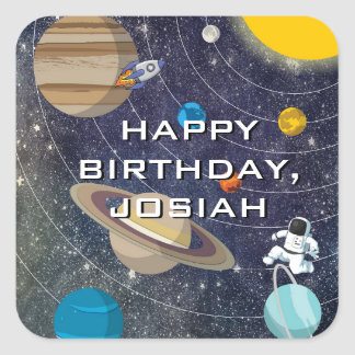 Solar System Birthday Party, Square Square Sticker