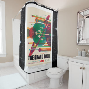 Solar System Grand Tour Space Tourism Advert Shower Curtain