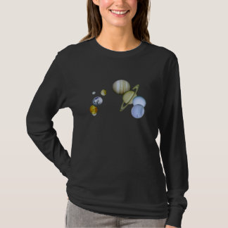 Solar System Ladies Long Sleeve Astronomy T-shirt