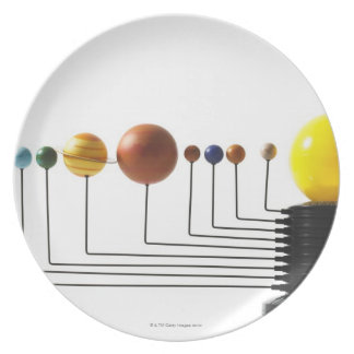Solar system model on white background 3 plate