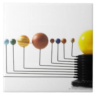 Solar system model on white background 3 tile