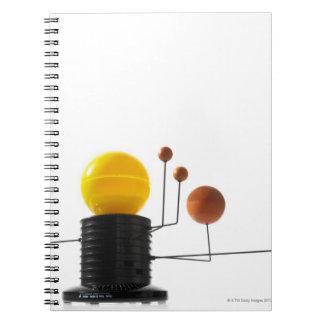 Solar system model on white background notebook