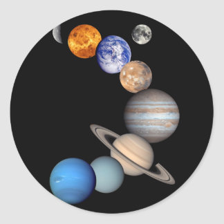 Solar System Montage JPL Planet Photos Classic Round Sticker