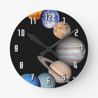 Solar System Montage JPL Planet Photos Round Clock