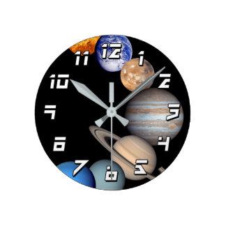 Solar System Montage JPL Planet Photos Round Clock