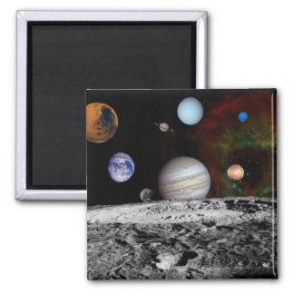 Solar System Montage of Voyager Images Refrigerator Magnet