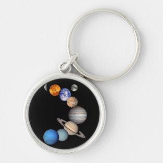 Solar System Montage Silver-Colored Round Key Ring