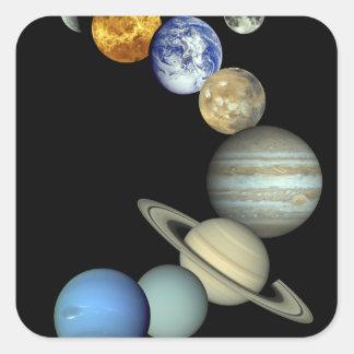 Solar System Montage Square Sticker
