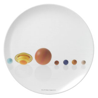 Solar system planets on white background 2 plate
