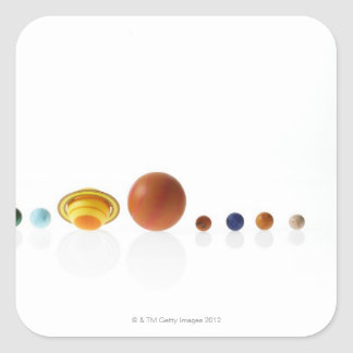 Solar system planets on white background 2 square sticker