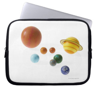 Solar system planets on white background laptop sleeve