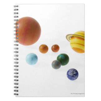 Solar system planets on white background notebooks