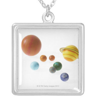 Solar system planets on white background silver plated necklace