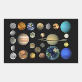 Solar system rectangular sticker