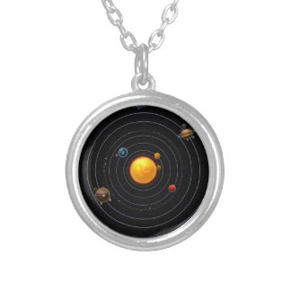 Solar System Round Pendant Necklace