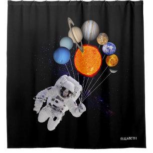 Solar System Sun Planets Astronaut Milky Way Shower Curtain