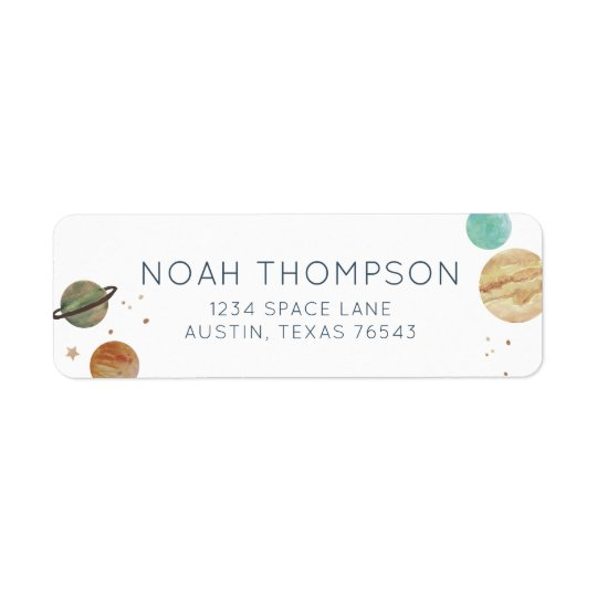 Solar System Watercolor Return Address Label