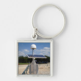 Solar Technology Silver-Colored Square Key Ring