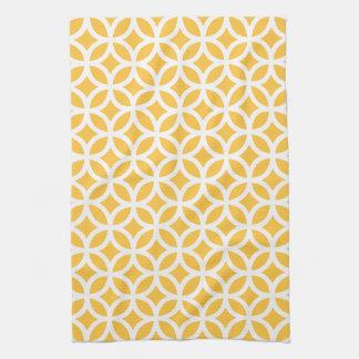 Solar Yellow Geometric Kitchen Towels