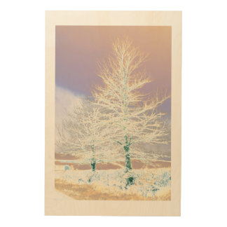 Solarised Trees in the Snow. Wood Wall Decor
