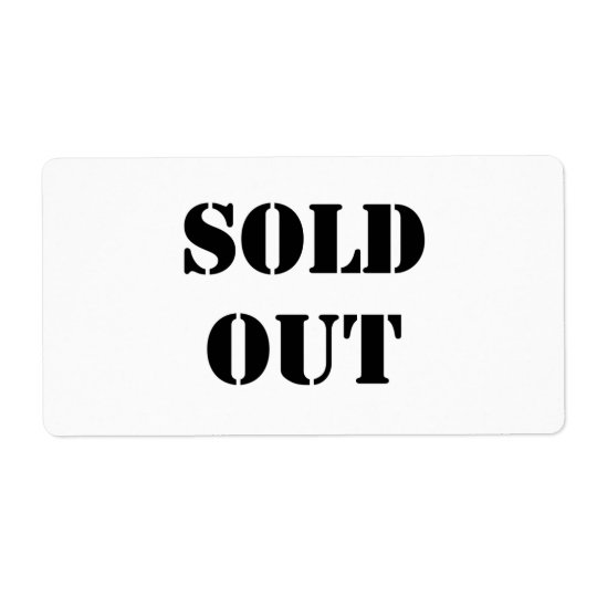 Sold Out Shipping Label