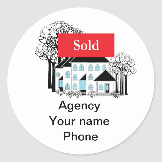 Sold Real Estate Promote Your Business Classic Round Sticker