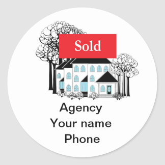 Sold Real Estate Promote Your Business Round Sticker