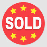 Sold retail stickers with stars, red white yellow