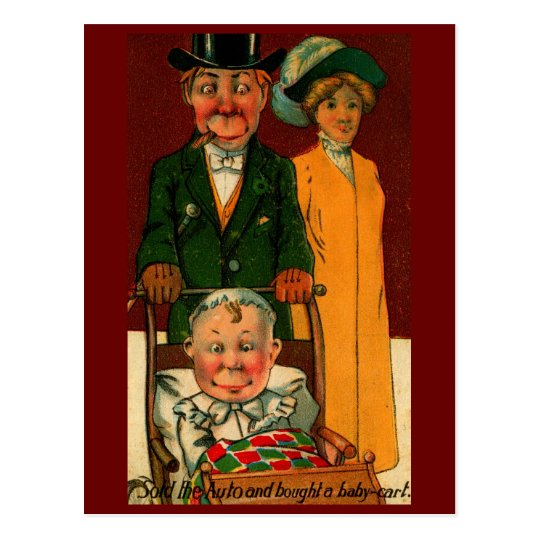 Sold the Auto and Bought a Baby Cart Vintage Postcard