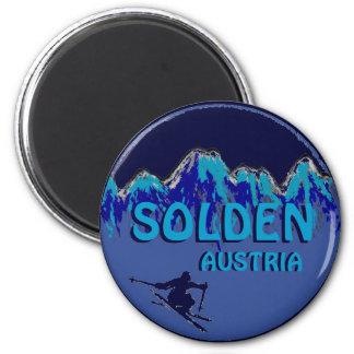 Solden Austria blue theme ski logo magnet