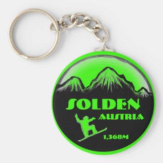 Solden Austria green snowboard art keychain