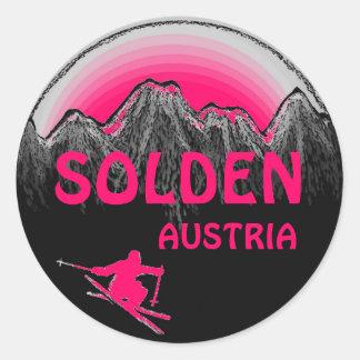 Solden Austria pink ski art logo stickers