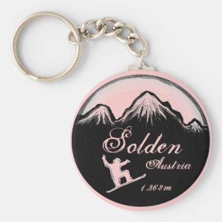 Solden Austria pink snowboard art keychain