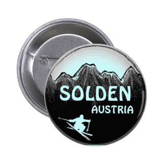 Solden Austria teal ski art logo button