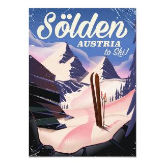 Sölden Austria vintage ski poster Card