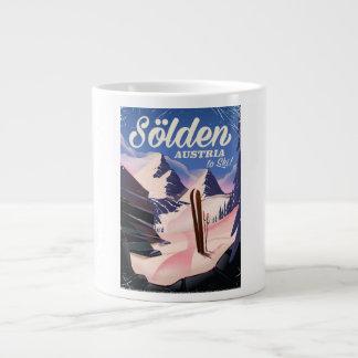 Sölden Austria vintage ski poster Large Coffee Mug