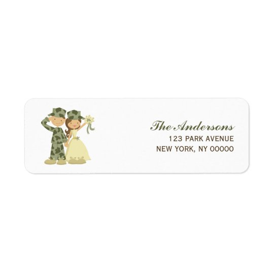 Soldier and Bride Wedding Address Return Labels