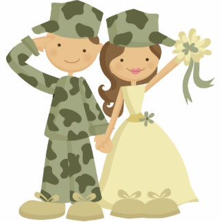 Soldier and Bride Wedding Cake Topper Standing Photo Sculpture
